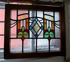 Stained-Glass-Window-Leaded-Panel-Antique-Vintage-Old-English-Ornate ...