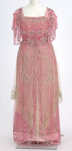 Beaded pink net evening gown with pink satin underdress, by dressmaker Helen Gjertson, American (Minneapolis), c. 1915.