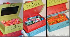 A reading treat box. The child gets a small treat after reading a book each day. If they read so many books in a week, they get a week treat, and then if they read so many books in a month, they get an even better treat! reading incentive ideas, treat box, boxes, reading incentives, read treat, craft idea, craft corner, read reward, kids reading