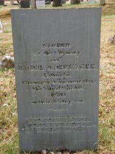 Filiopietism Prism: Tombstone Tuesday (September 9, 2014) -- Lydia [Angell] Carpenter #genealogy #familyhistory