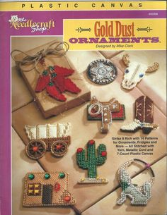 Country Notions - Plastic Canvas Western Gold Dust Ornaments - The Needlecraft Shop , $6.75 (http://www.country-notions.com/plastic-canvas-western-gold-dust-ornaments-the-needlecraft-shop/)