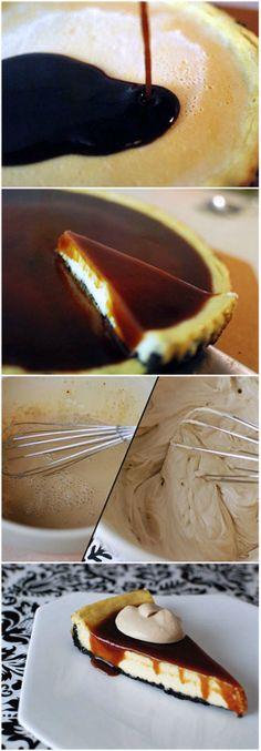 Irish Cream Cheesecake with Whiskey Caramel #omg #yum