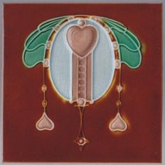 Wonderful Edwardian pendant jewel and hearts design in four colors from H. & R. Johnson Ltd., England, c. 1908. The tile is in excellent condition with crazing as shown. Please also see inventory...