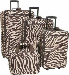 Rockland Luggage 4 Piece Expandable Luggage Set Brown Zebra - via eBags.com!