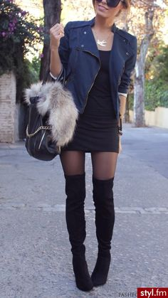 Totally my style ♡♡ moto jacket, lil black dress, skin tights, and knee highs.. <3 just need a little black dress!