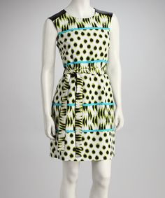 Take a look at this Green Dot Belted Sleeveless Dress by Emma & Michele on #zulily today!