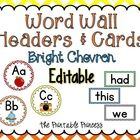 Editable bright chevron word wall set includes alphabet headers and matching word wall cards. Contains over 100 premade word cards and an editable file so you can add your own!