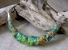 Silver-sari-silk-necklace - interesting use of sari silk.