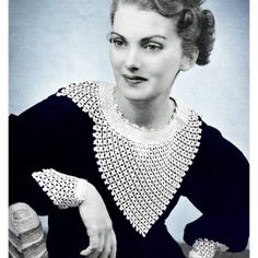 Vintage Crochet Pattern 1950s Lacy Evening Dress Circle ...
