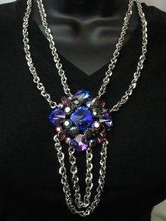 Repurposed Vintage Jewelry Statement Necklace Couture Assemblage Purple Blue Silver Swag Vegas Line by SunnyDayVintage.com
