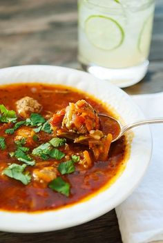 Mexi Meatball soup...Nothing better after a looooooooooooooong weekend! Gets you right back in the game, serve with lime wedges, warm flour tortillas, and avocado chunks....