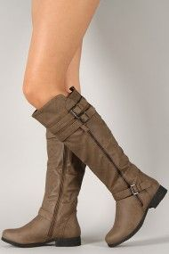 Dress-28 Round Toe Buckle Riding Knee High Boot. Love these in the Tan color! Perfect for Autumn!