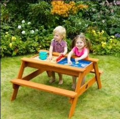 Picnic bench sand and water table - too cute!