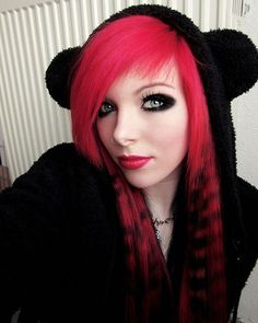 Scene hair :) loving this red/hot pink