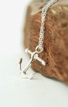 Heleuma necklace  silver anchor necklace