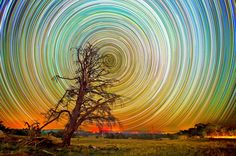"""Star Path Pics: """"At first glance these pictures look like something that greets you at the end of a kaleidoscope.    But these marvels are the product of up to 15 hours of shooting the stars in the Aussie outback.    The swirling spectacles were snapped using long exposure lenses on a Nikon D7000 and a Nikon D3100 camera by Australian photographer Lincoln Harrison who spends hours shooting the night sky armed with an array of lenses."""""""