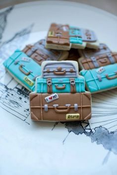 baked. vintage suitcases, bon voyage, tiered cakes, cooki decor, cake decor, wedding cakes, cookie cutters, suitcase cookies, cake cooki