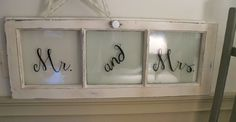 Mr. and Mrs., Vintage Repurposed Window Frame, Hand Painted, Annie Sloane Chalk Paint, Rustic, Cottage, Barn Wedding, Reception Decor.. $45.00, via Etsy.