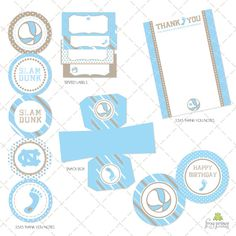 custom tar heel invites and party accessories