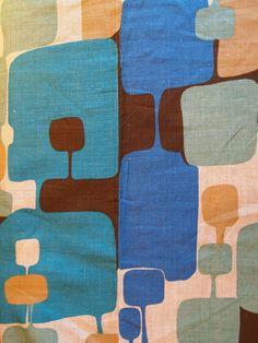 Vintage Scandinavian Filkauf Linen Fabric-abstract print. $40.00, via Etsy.