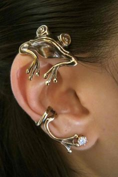 Bronze Curious Frog Ear Wrap ( etsy link ::  http://www.etsy.com/listing/86761647/bronze-curious-frog-ear-wrap  )