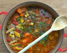 Hamburger Soup, comfort food at its best. A hearty soup with chunks of meat and bright-colored vegetables. Just 105 calories and for Weight Watchers, #PP3. #KitchenParade