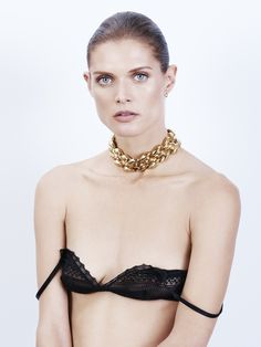 Malgosia Bela in a chunky chain choker necklace & lacy bra #jewelry #lingerie