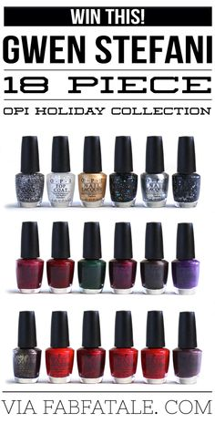 i'm giving away the newly released OPI Gwen Stefani 18-piece holiday nail polish collection at http://www.fabfatale.com/2014/10/gwen-stefani-opi-holiday-collection/ #opi #gwenstefani #giveaway