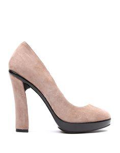 Zapato Pump en piel y ante rosa palo
