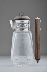 France  circa 1930s  Very unusual French Art Deco sterling silver and glass claret jug with geometric glass and wonderful Brazilian rosewood handle and lid.