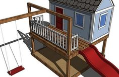 This is amazing. Contains plans for the whole thing. Playhouse, Sandpit, Deck, Swing Set!