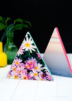 DIY Triangle + Neon Photo Frames via Love From Ginger