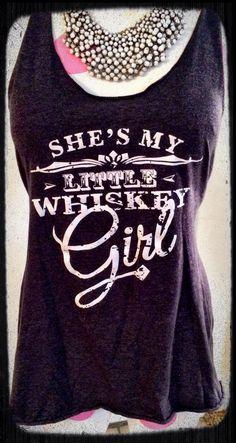 """Dark gray over-sized racer back tank  """"She's my Little Whiskey Girl"""" Jack Daniels logo inspired Size Large."""