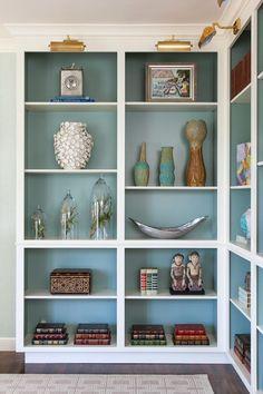 Benjamin Moore Stratton Blue inside cabinets.
