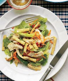 No-Cook Sesame-Lime Chicken Salad recipe: A store-bought rotisserie chicken makes this Asian-influenced meal a snap to throw together.