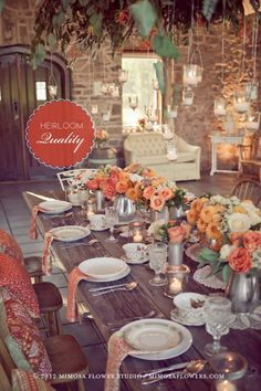 table settings, color palettes, color schemes, rustic table, mimosa