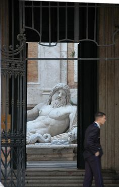 Ancient Neptune Statue Roman God Capitoline Museum Rome