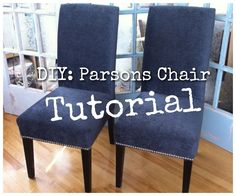 DIY: Re-Upholster Your Parsons Dining Chairs (Tips From A Pro) no sew, mostly