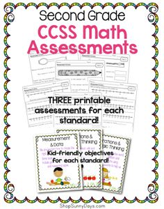 2nd Grade CCSS Assessment Pack - math from Sunny Days on TeachersNotebook.com -  (182 pages)  - 2nd grade math Common Core Assessments