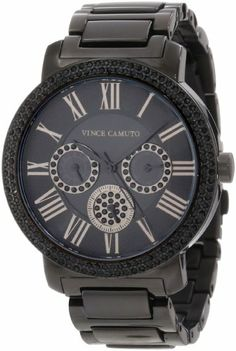 Vince Camuto Women%27s VC%2F5001BKBK Swarovski Crystal Accented Black Ion-Plated Multi-Function Bracelet Watch