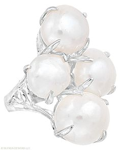 Nature's perfect treasure, times four! #Pearl, #Sterling #Silver. #SilpadaStyle #Jewelry #Ring #Silpada
