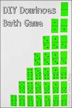 DIY Dominoes Bath Game for Kids -- cheap, simple, and fun!  Great for practicing counting and matching numbers!