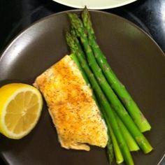 Salmon, asparagus, lemon (salt/pepper to taste) in pam sprayed foil ...