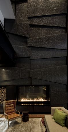 Love this fireplace wall treatment
