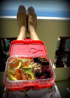 Sometimes you just have to treat yourself.   Sun lounging #Yumbox lunch filled with cabbage/ carrot/ celery salad, avocado, gravlax salmon slices, alfalfa sprouts, dark bread, berries and pistachios.   Lunch packed in Yumbox Panino in Anguria Pink. Now available at www.yumboxlunch.com and Amazon.