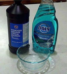 The ultimate stain remover that actually works on a seriously set in stain! Never buy oxyclean again! The mixture is:  1 tsp. Dawn dishwashing detergent 3-4 tablespoons of hydrogen peroxide couple tablespoons of baking soda. Scrub on with a scrubbing brush