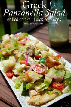 Greek Panzanella Salad with Homemade Greek Salad Dressing recipe from ThisSillyGirlsLif... #GreekSalad #Homemade #SaladDressing #Panzanella