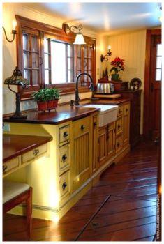 Painted with Miss Mustard Seed's Milk Paint milk paint cabinets, craftsman kitchen, kitchen updates, cabin kitchens, countri kitchen, farmhouse style, mustard seeds, country kitchens, mustard yellow