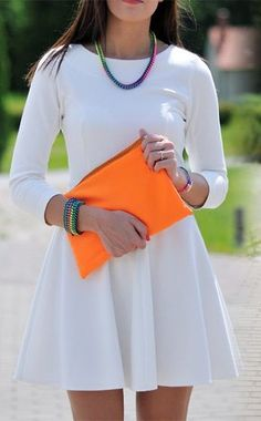 Neon accessories with simple dress.
