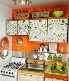 liquid starch is used to adhere fabric to apartment-grade cabinets. (These are easily removable when you leave.)